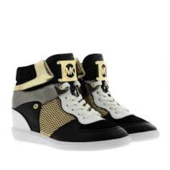 82689f07ba5f3 Michael Kors High Top Sneakers Black Gold